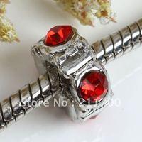4x10mm Red Crystal Square Bead Fit Charm Bracelet 5pcs