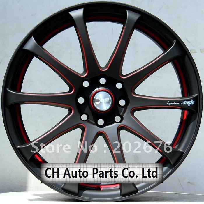 Black Alloy Wheels With Red Trim Matt Black Red Edge Alloy