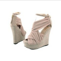 Supernova Sales,Freeshipping, Sandals for women/Ladies,foot-high shoes,Ankle Buckle Cross Band Zip-Back Platform Wedge