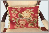 FREE SHIP! Aubusson Pillow RED PINK Shabby French Chic Rose Cushion Cover 16X12-Home Decorative