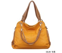 High Qlty Ladies Leather Shouder Handbag Messenger Tote Bags Yellow Mulitfunctional Chain + Braided Handle 1000g Wholesale