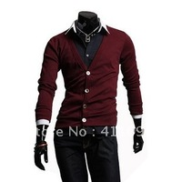 New Arrival V-neck Men's Sweater Fashion Men's Clothing Wine Red,Black M-XLWholesale and Retail Free Shipping