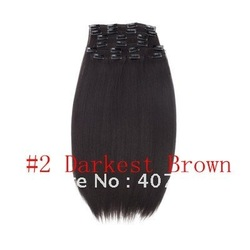 synthetic hair weave retail high temperature wholesale clip in on hair 18 20 22 24 inch blonde #2 Darkest Brown 10pcs 140g set(China (Mainland))
