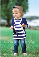 baby girl sets three-piece dress(top+t shirt+jeans) 5sizes,child clothes set,infant tee shirt+coat+jeans,5 set/lot