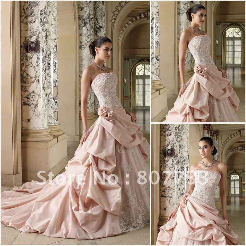 Promesas de amor Free-Shipping-2012-Elegant-strapless-lace-and-taffeta-puffy-skirt-white-and-pink-bridal-wedding-dress