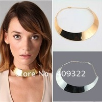 New arrival  Fashion jewelry  Metal Silver/gold plated Collar Necklace Punk Bold Vintage Mirror charm necklace