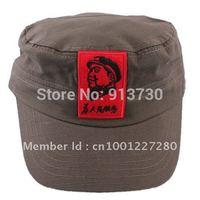 Free Shipping Chairman Mao Pattern Flat Top Cotton Fabric Summer Cap Military Hat - 53183
