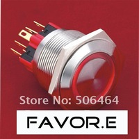 Stainless steel 25mm IP65 5A/250VAC ring illuminated 1NO 1NC Momentary LED metal Push Button light Switch Flat round