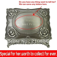 free shipping/fashion metal jewelry case/design/order/can carve any letters or photos/classical jewelry box/rose flower/HW-200