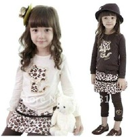 Fress shipping 5 pieces/lot Baby girl's dress suit 2pcs sets leopard cat T- shirt tops + leopard skirt legging pants
