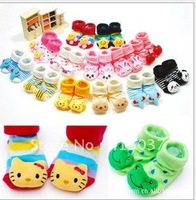 Newborn anti slip floor socks baby fashion cotton socks lovely booties infant slipper socks 24 pair/lot