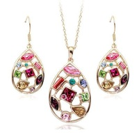 1pcs Italina regetn Colorful crystal suit with necklace and earrings beautiful gift for Valentine' day mother Christams' Day