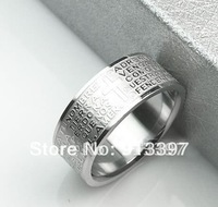 24PCS Fashion Cool Nice Exquisite Silver Color Cross Bible Letter Ring Letters Rings HOT!!