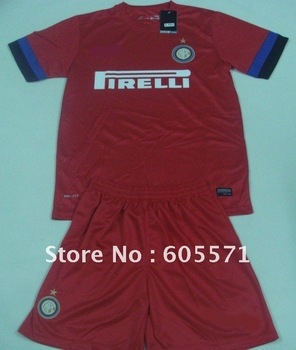 ^_^ wholesale soccer jerseys inter milan away red soccer uniform shirts + shorts top quality + free shipping