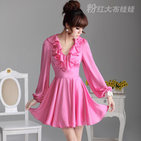 2012 skirt long-sleeve princess satin chiffon one-piece dress