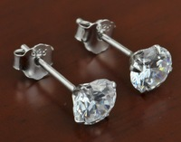 latest design best selling newest styles 1 pair 4.5mm 925 Sterling Silver Round white CZ Stud Prong Set Earrings