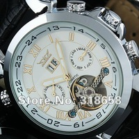Luxury White Dial Auto Mechanical Date Week Month Tourbillon Mens Wrist Watch Wholesale Price A509