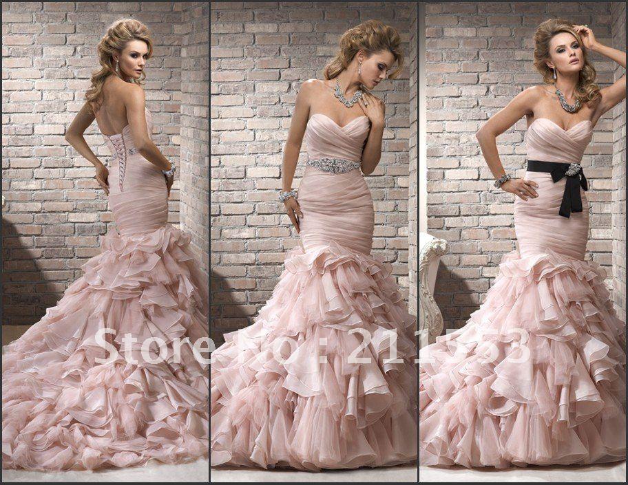 Pink Wedding Dresses Mermaid Style : Pink mermaid wedding dress dresses