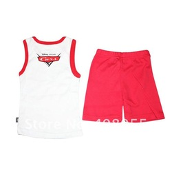 Free shipping children Clothing Sets CARS Outfit vest Set Clothes Top+Shorts 2pcs soft cotton your best choice for your baby(China (Mainland))