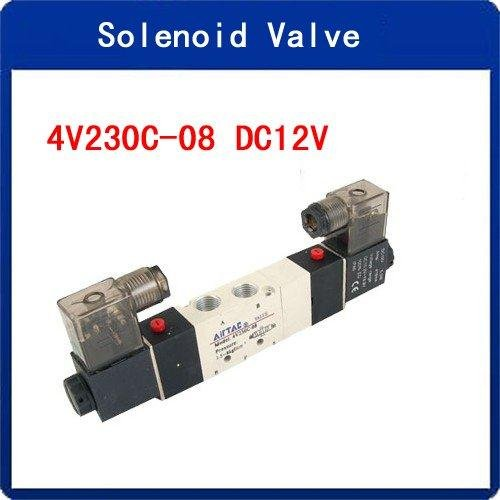 Wholesale DC 12V 4V230C-08 Inner Guide Type 3 Position 5 Way Solenoid Valve(China (Mainland))