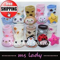 Baby Socks Anti Slip Newborn Shoes Animal Cartoon Slippers Boots Boy Girl Unisex 20 pairs/lot free shipping HK airmail