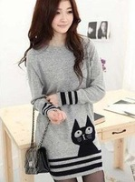 Free shipping autumn lady  long sleeve Long paragraph Knittwear Women's Turtleneck Cat Design Sweaters