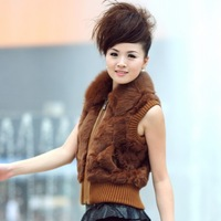 (Free shipping) 2012 rabbit fur vest women's fur vest outerwear fox