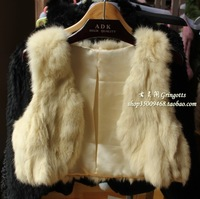 (Free shipping) 2012 vivi rabbit fur vest fur vest slim vest short design Women meters