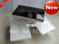 Home automation, 3 keys, US style, touch swall switch+crystal tempered glass panel+blue LED indicator