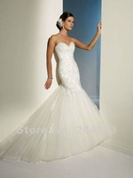 Free Shipping Mermaid 2014 Sweetheart Wedding Dress with Appliques custom size&color