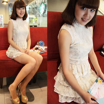Sweet white lace one-piece dress cutout embroidery princess dress stand collar layered dress