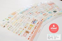 2014 Scrapbook Scrapbooking Paper Wire Binding Free Shipping/cartoon Basic & Pastel Diy Sticker/cute Sticker/6 Sheets, Gift
