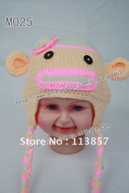 Free shipping (30pcs/) 100% cotton crochet monkey ear flap hat baby girl hats animal hat crochet patterns knit beanie caps(China (Mainland))