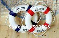 2012 Fashion Mediterranean Family Adorment Life Buoy Crafts  Home Hang Decorations 2pcs/lot
