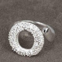 Min.order is $15(mix) R028 O Ring ! High Quality,  silver heart ring. fashion jewellry silver rings Angle's halo.
