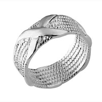 "Min.order is $15(mix) R066 Saint Ring ! High Quality,   fashion jewellry silver rings ""X"" Ring"