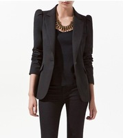 ladies' fashion band suit jacket women's stylish short blazer with pocket western style black coat free shipping