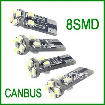 Free shipping wholesale 20pcs T10 W5W 194  8 SMD 5050 no Error canbus white light   led car light bulb
