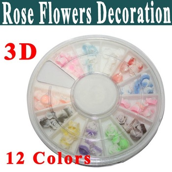 New Arrival !!! 12 Colors Turntable Soft Rose Flowers 3D Acrylic Nail Art Tips Decoration Portable and Endurable
