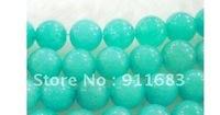 "Wholesale 6mm blue Amazon Stone Round Loose Bead 15"" 2pc/lot fashion jewelry"