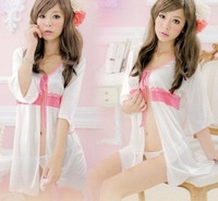 New Sexy White Lace Lingerie Sleepwear Bathrobe Babydoll Underwear Dress+T-back Free shipping 3559