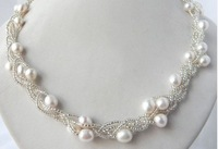 4Strands 21'' White Teardrop akoya  Pearl Clean Glass Necklace