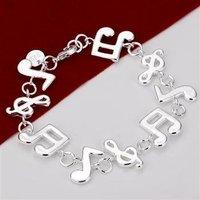 Fashion Design Women Charm Bracelet Trendy Style Rock Music Notes Jewelry Sterling Silver 925 Bracelets Free Shipping Y032