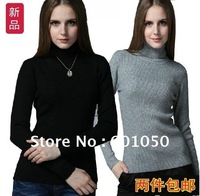 autumn/winterwoman high-necked cashmere sweater women&#39;s tight woolen sweater female Bottoming shirt black knitting shirt