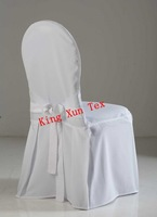 White 100polyester chair cover with a tie in the back\Wedding chair cover