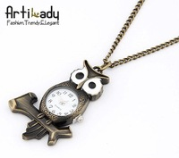 Artilady  antic gold owl pocket watch chains necklaces owl Style Steampunk Brass Necklace
