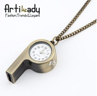 Artilady  gold whistle fashion pocket watch chains necklace jewelry