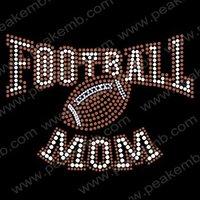 Free Shipping 30pcs/Lot Wholesale Hotfix Rhinestone Transfers Crystal Football MOM Rhinestone Design
