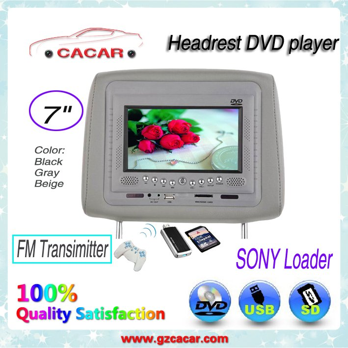 2012 Popular 7 inch headrest for car and with wireless game +speaker +USB,SD+digital screen(China (Mainland))