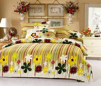 Free shipping cotton twill printed denim princess bed linen bedding set  yellow